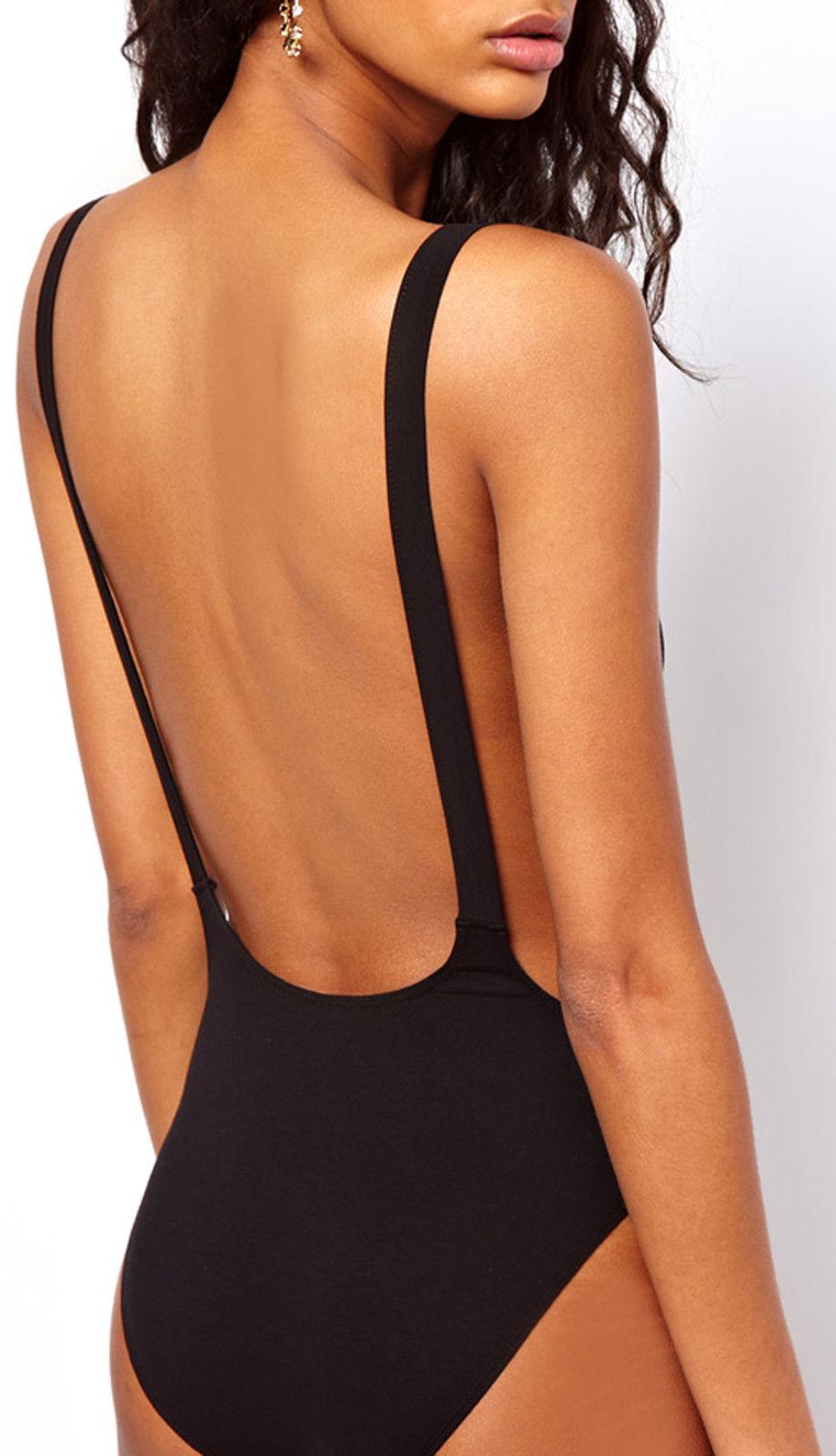 da donna taglie forti a schiena nuda body elasticizzato scollato basic top 8 22 ebay. Black Bedroom Furniture Sets. Home Design Ideas