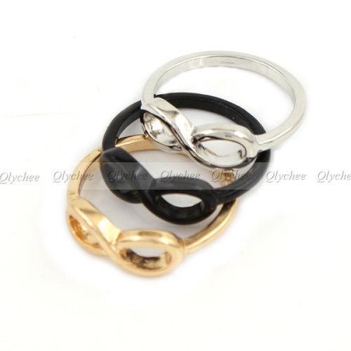 Fashion Punk Simple Style Metal infinite infinity sign Ring size 6 e