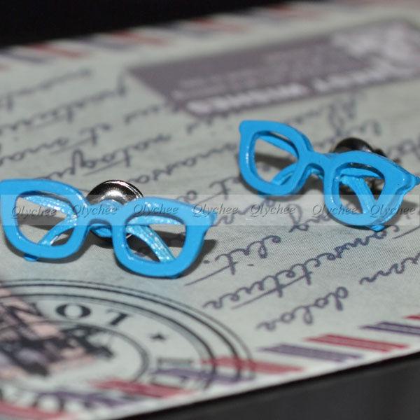 HOT 1 pair Fashion Cute Sweet Glass Glasses Shape Ear Stud Earrings Wholesale