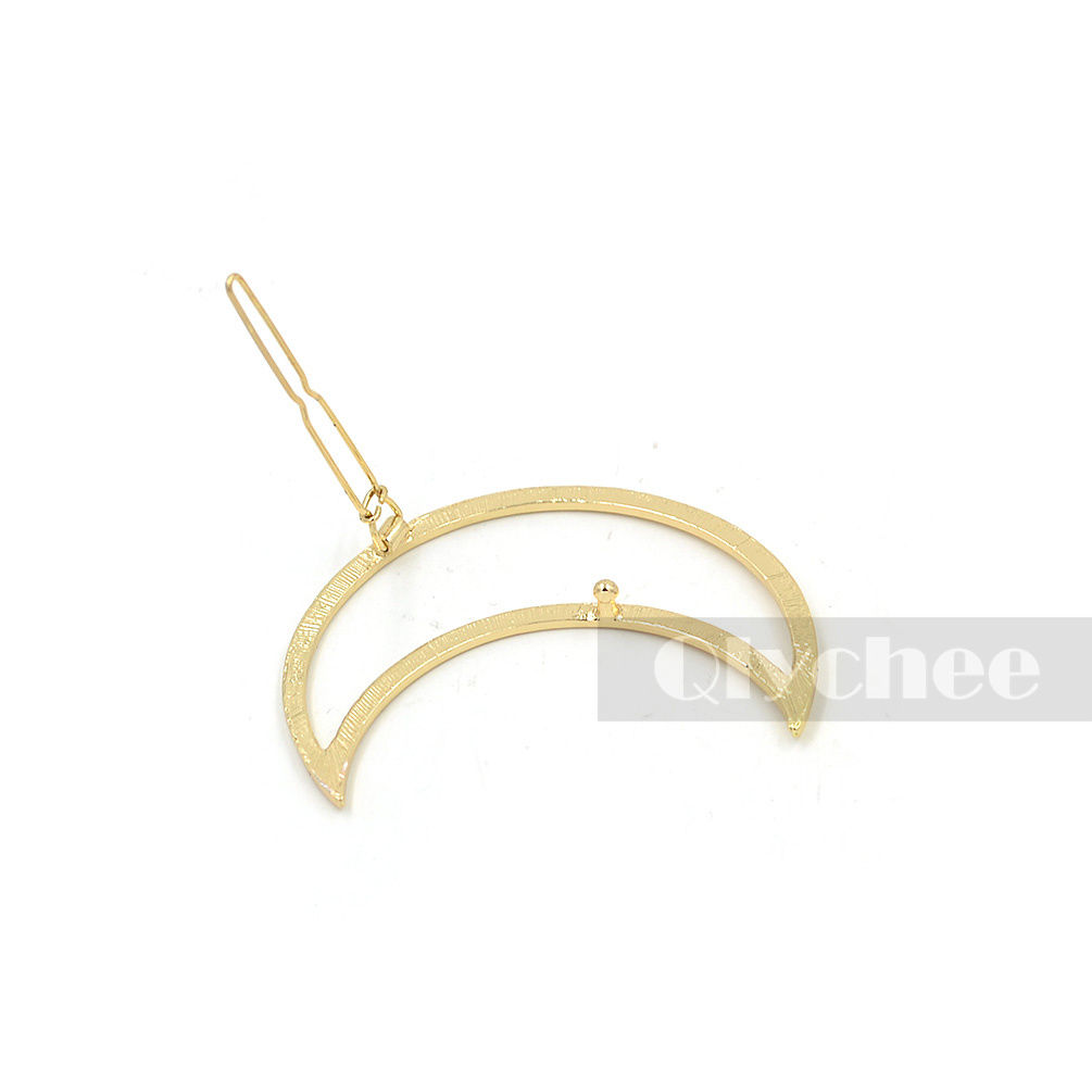 Girl Punk Hollow Out Moon Triangle Hair Clip Hairpin Clamps Gold Tone Fashion