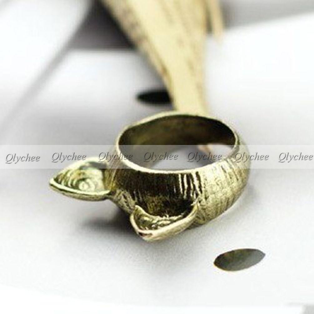New Fashion Lady Elegant Vintage Retro Silver Cute Cat Finger Ring
