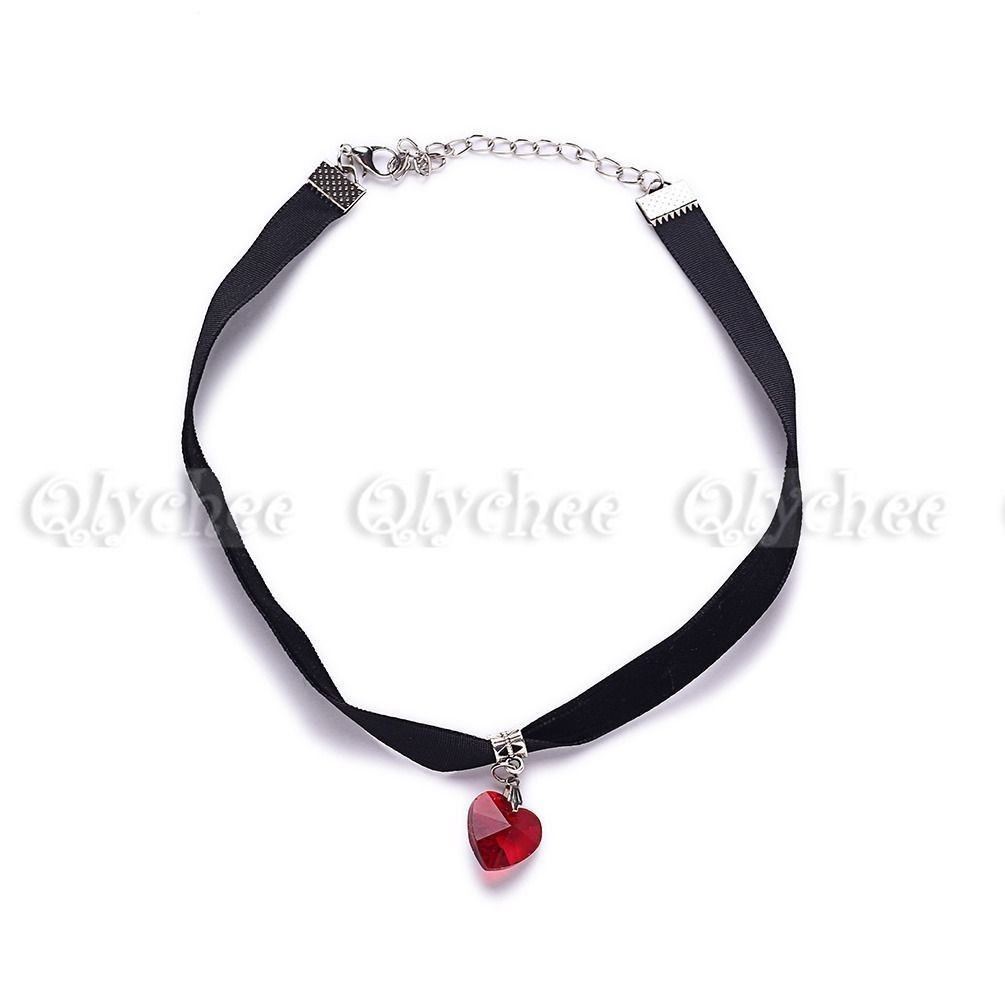 1X Gothic Velvet Heart Crystal Choker Handmade Necklace Pendant Retro 80 90s New