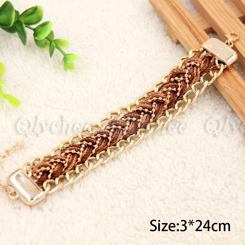 1X Fashion Boho Style Rope Weave Bracelet Womans Gold Tone Chain  Metal Bangle