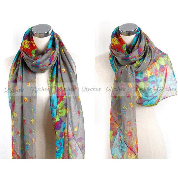 NEW Fashion 11 Colors Georgette Chiffon Womens Flowers Scarf Shawl Wrap Stole