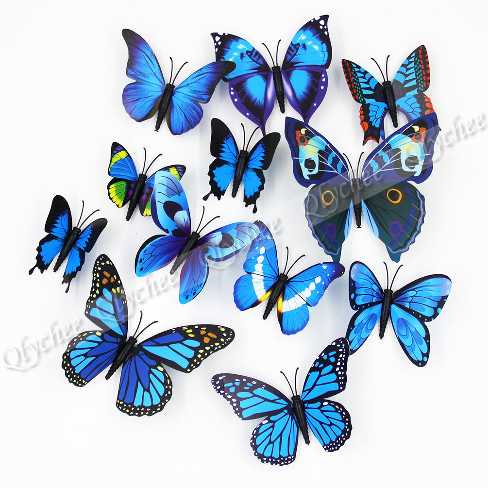 12 x 3d butterfly wall stickers plastic fridge magnet for 3d butterfly decoration