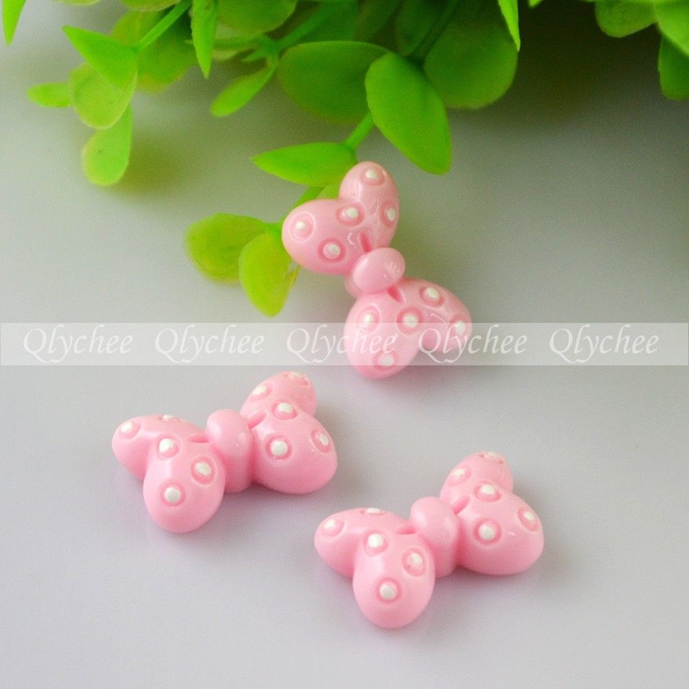 8 Colors Flatback Resin Kawaii Bowknot Dot Cabochons Scrapbook DIY Decoration