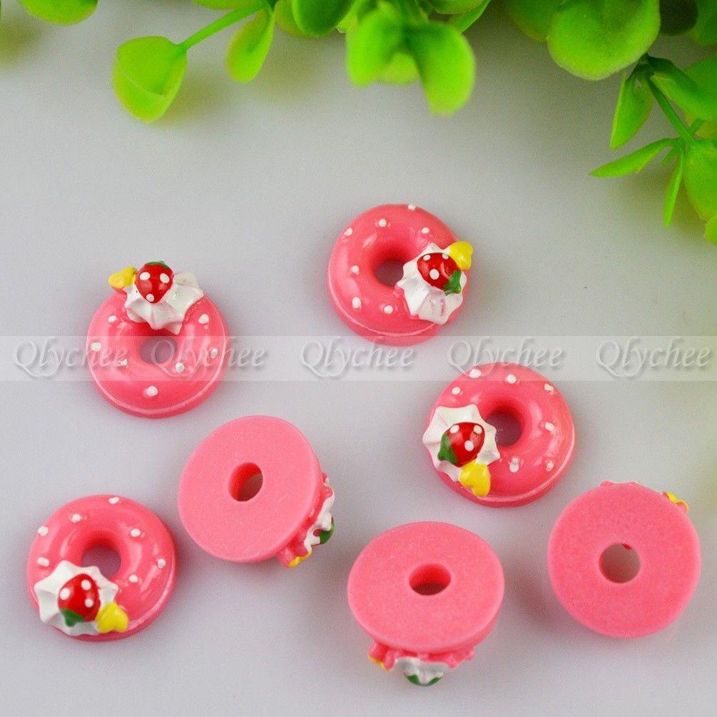 New DIY Strawberry Sweet Doughnut Cabochons Scrapbooking Ornament FlatBack Resin