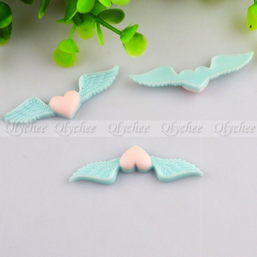 DIY Crafts Decoration Lovely Angel Wings Cabochons Embellishment FlatBack Resin