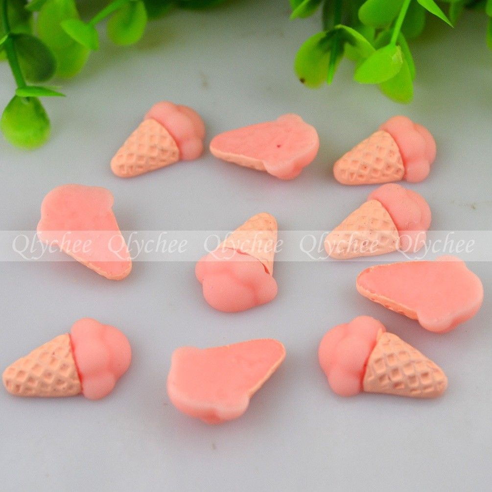 DIY Deco Lovely Ice Cream Cone Resin Cabochon Flatbacks Scrapbooking Craft Cute