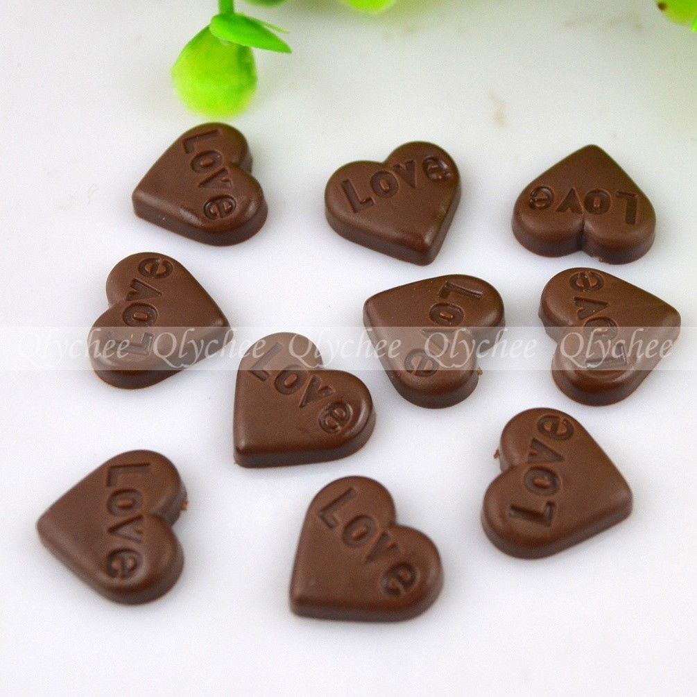 DIY Case Deco Heart Chocolate Love Resin Cabochon Flat backs Scrapbooking Craft