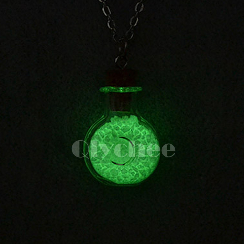 Glow In The Dark Wishing Bottle Mini Glass Vial Charm Pendant Necklace Chain