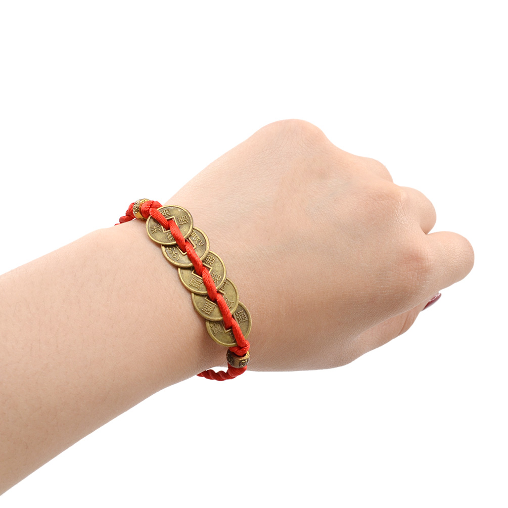 Chinese-Feng-Shui-Red-String-Wealth-Bless-Lucky-Coin-Charm-Bracelet-Adjustable