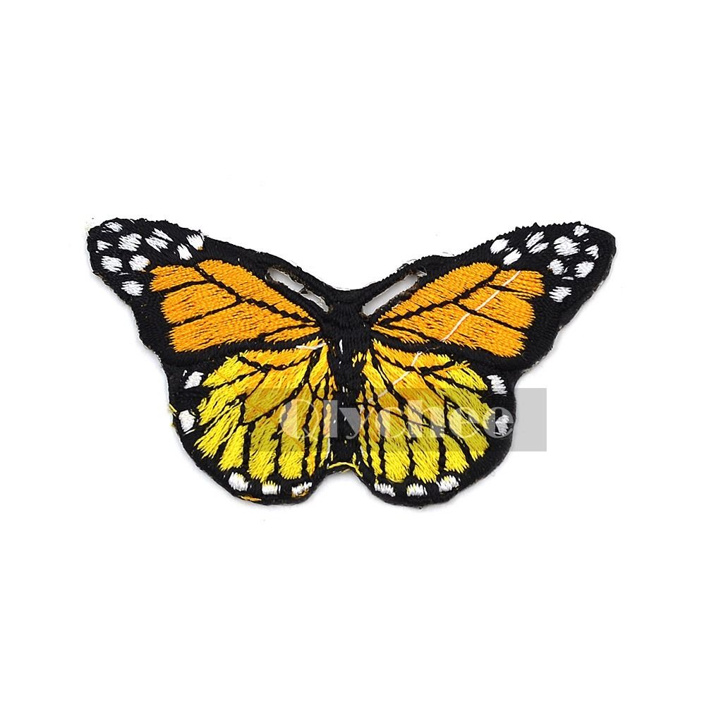 Monarch butterfly iron on embroidered applique sewing