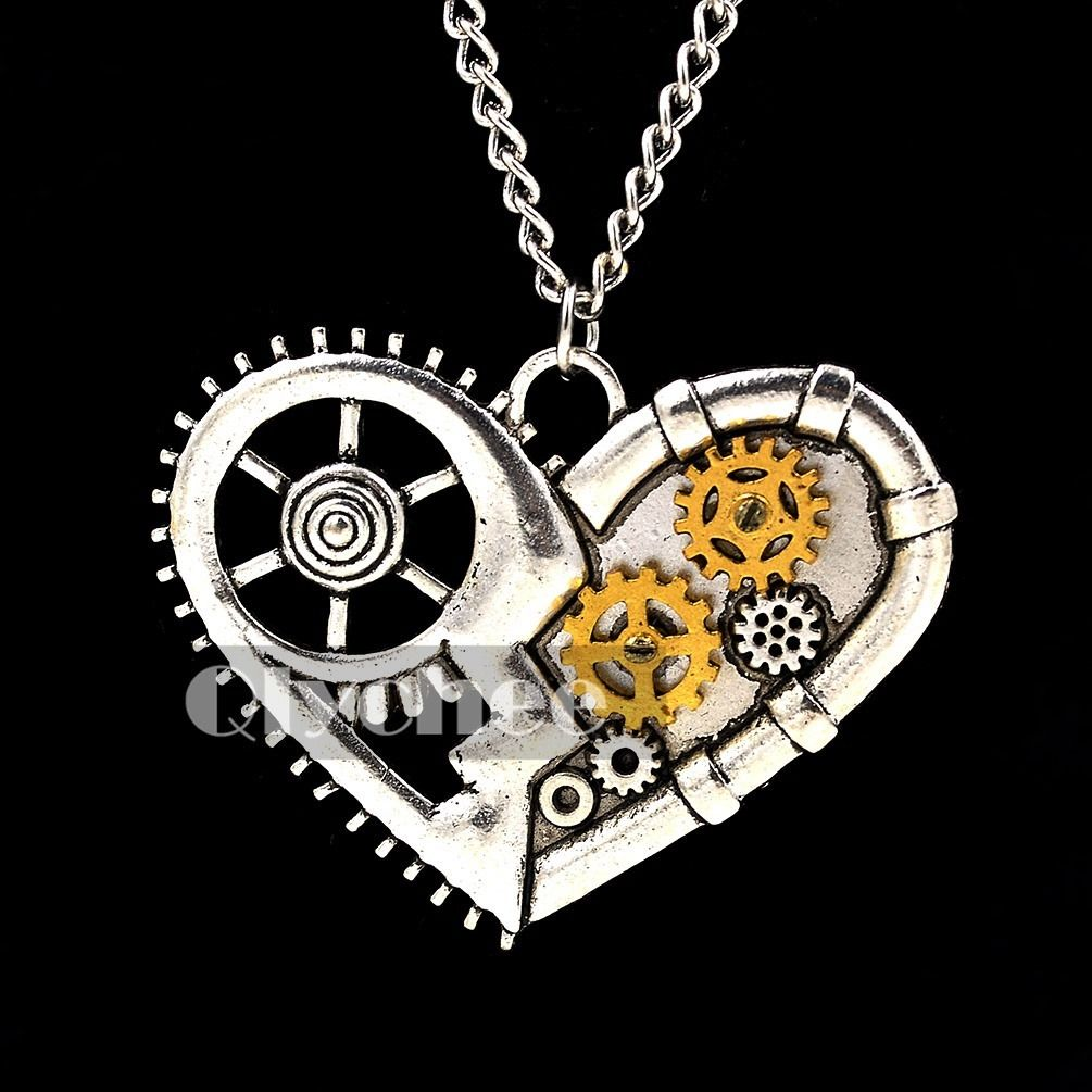 New Arrivel Steampunk Antiqued Silver Bronze Necklace Pendant Gear Vintage Style