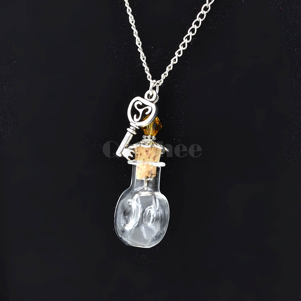 clear wishing bottle mini glass vial key charm pendant