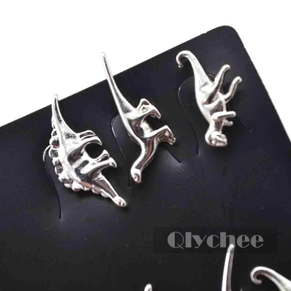 3 Pairs/Lot Gold Silver Dinosaur Earrings Cute Ear Stud Small Unisex Jewelry New