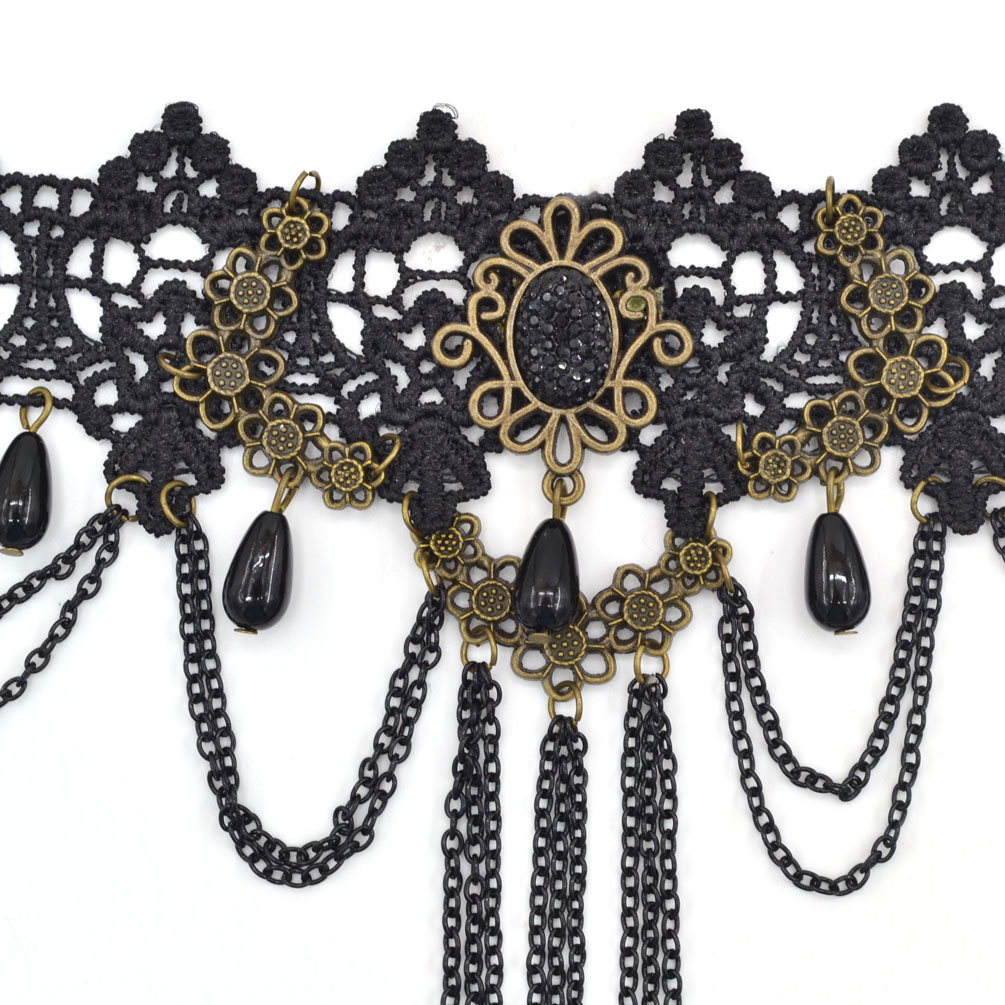 Gothic Black Lace Collar Victorian Steampunk Choker Necklace Pendant Handmade
