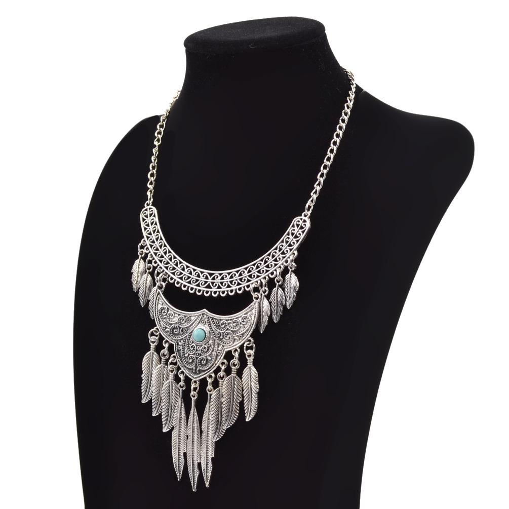 Lady Boho Jewelry Retro Silver Coin Pendant Gypsy Bib Statement Necklace Bohemia