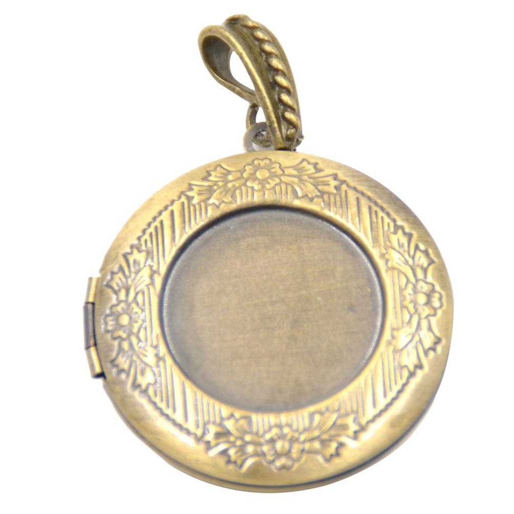 1 pc vintage brass picture photo frame locket pendant