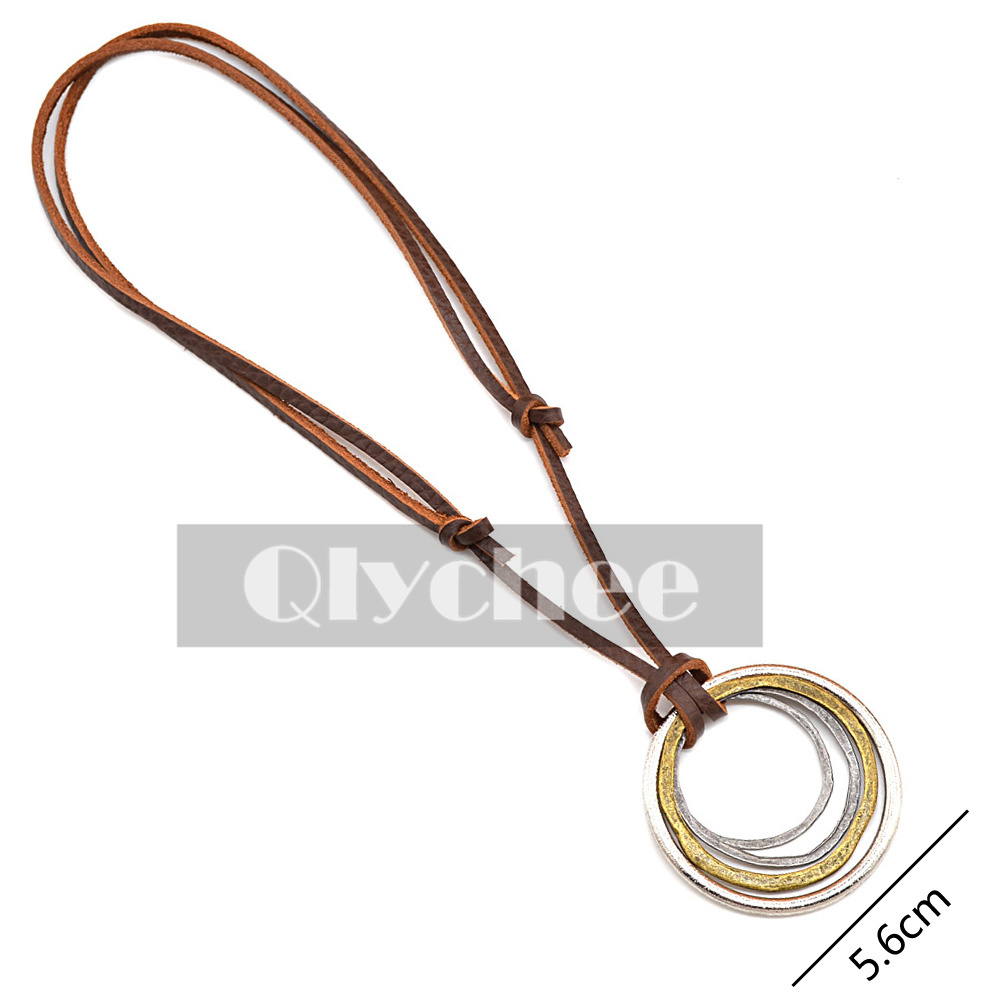 Men Steampunk Brown Synthetic Leather Cord Necklace Metal ...