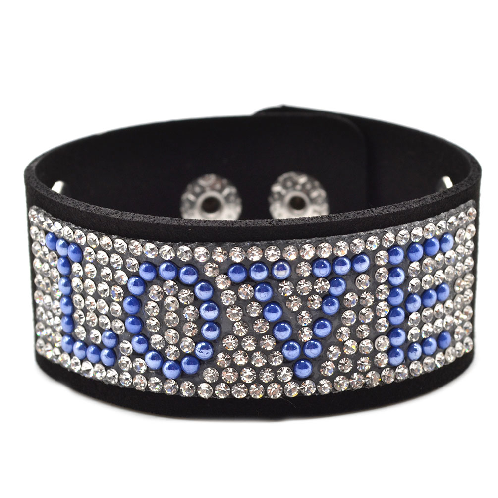 rhinestone black pu leather wrap wristband cuff