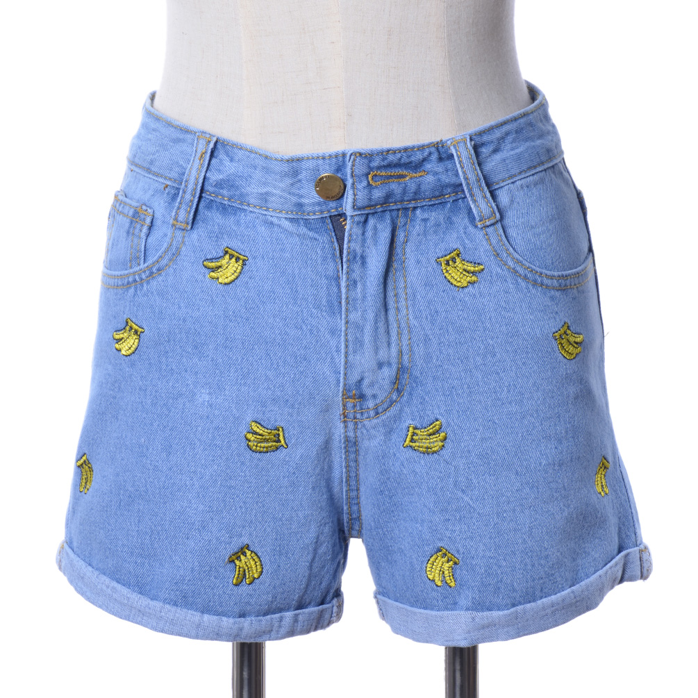 Women summer banana fruit embroidered denim shorts short