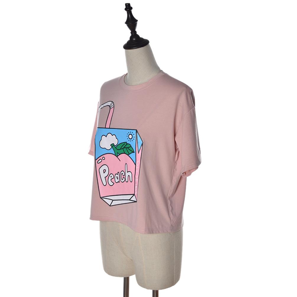 Women Peach Juice Box Print Short Sleeve T Shirt Casual O-neck Cotton  Crop Top