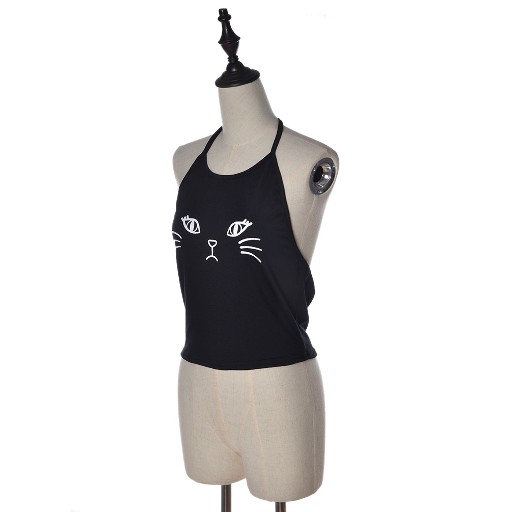 Women Halter Cat Print Vest Crop Tops Cami Boho Tank Bustier Bra Bralette Blouse