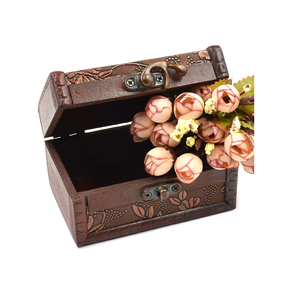 Decorative Wooden Jewelry Boxes : Vintage wooden decorative trinket jewelry chest box