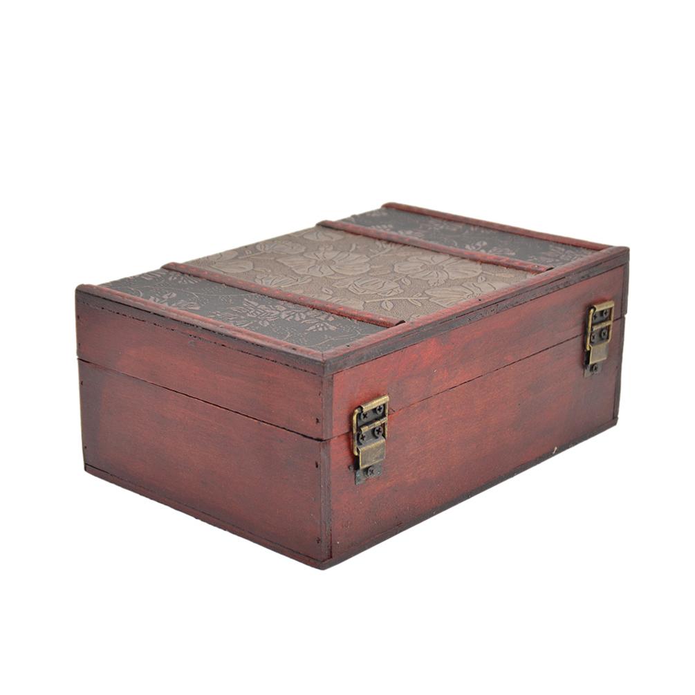 handmade trinket jewelry lock chest vintage wooden storage box organizer case ebay. Black Bedroom Furniture Sets. Home Design Ideas