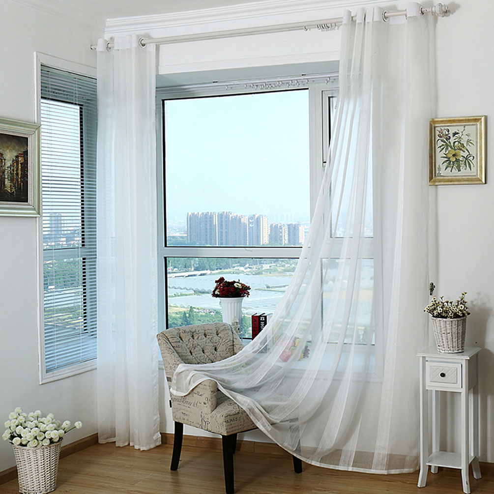 white window transparent voile curtains tulle curtains sheer home decor 2 7 x 1m ebay. Black Bedroom Furniture Sets. Home Design Ideas