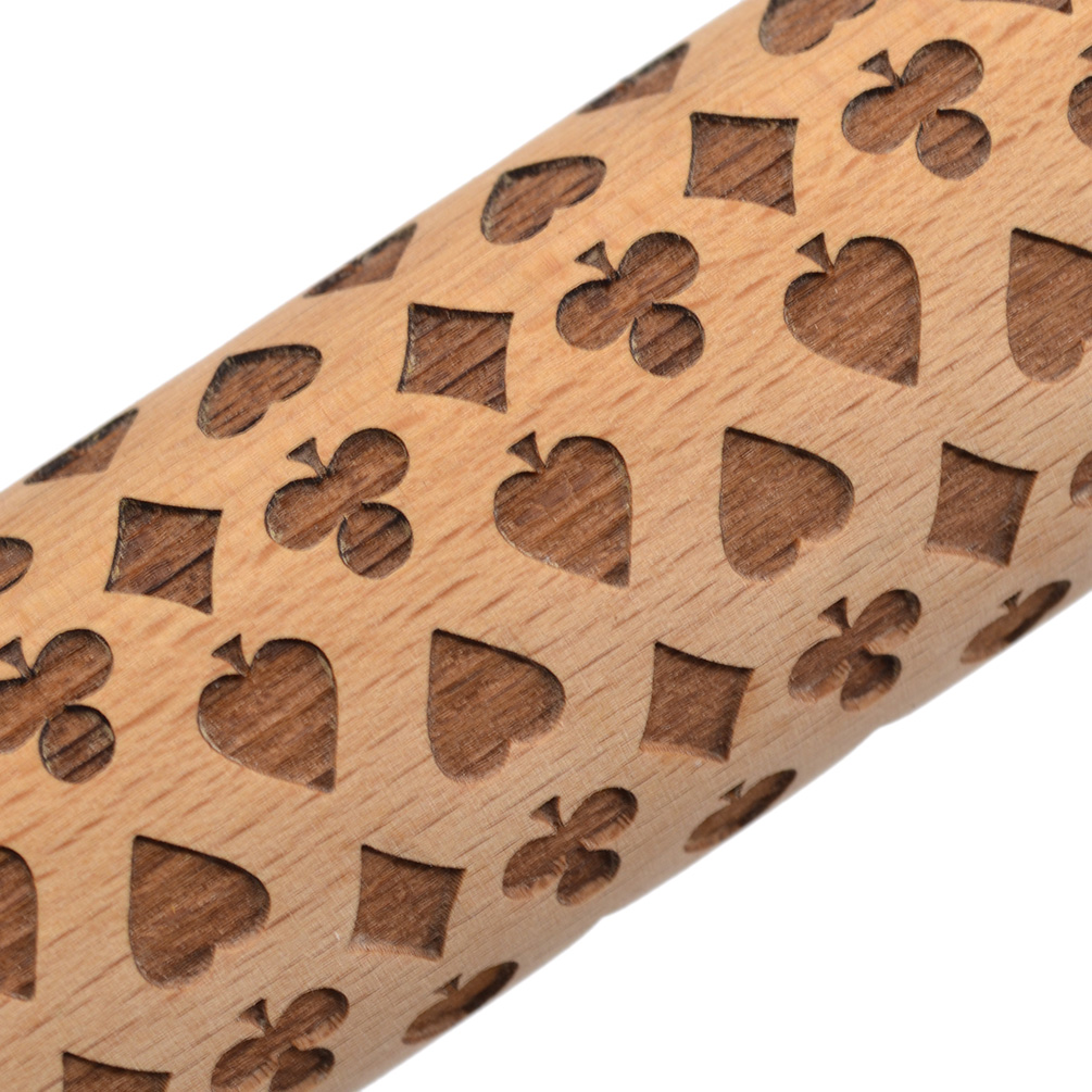 Embossing Rolling Pin Wooden Laser Engraved For DIY Embossed Cookies Cake Gift