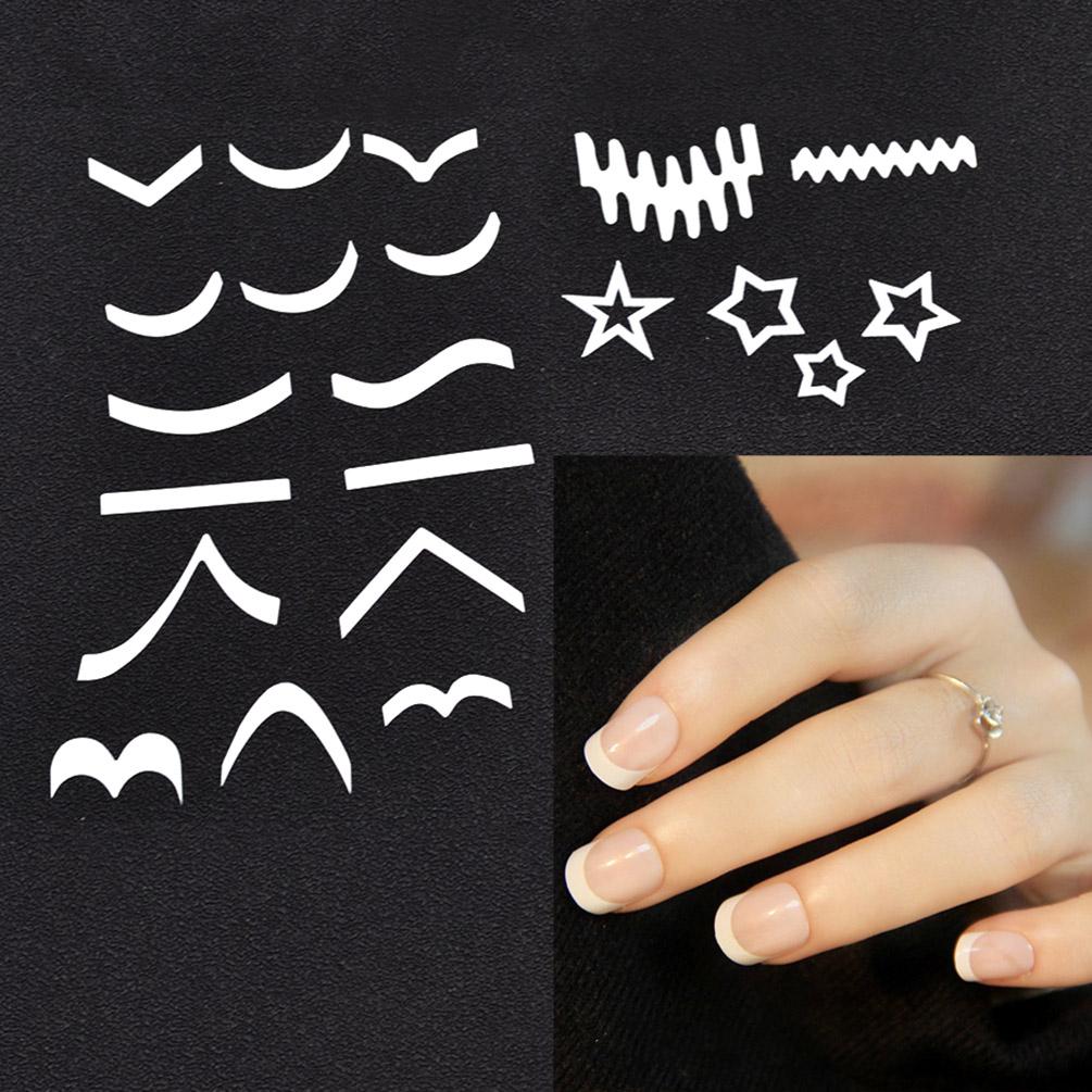 20 Pcs French Nail Tip Fringe Guides Stickers Nail Art DIY Stencils ...