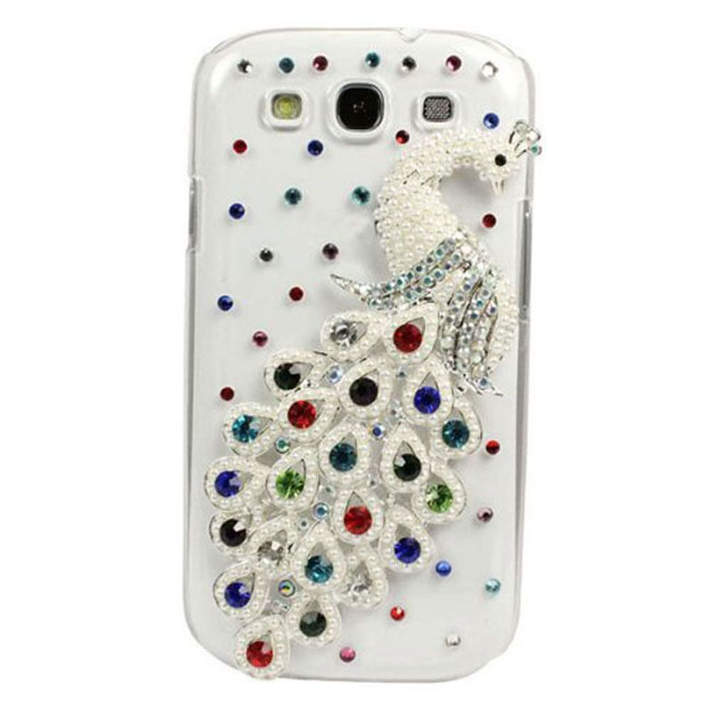 3D Bling Crystal Clear Peacock Hard Case Cover for Samsung Galaxy S3 i9300 1