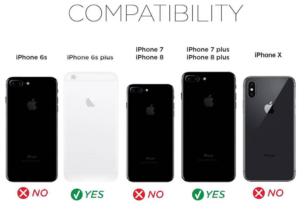 Shock-Proof Kickstand Armor Cover Case for Apple iPhone 6s Plus, 7 Plus, 8 Plus