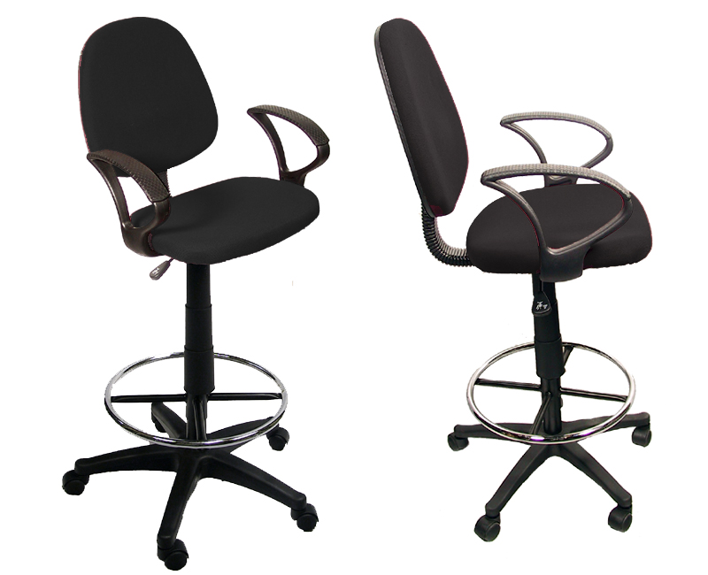 New Drafting Chair Stool Black Fabric Office W Arms EBay