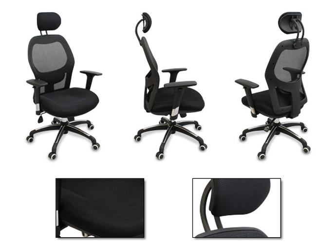 new mesh ergonomic office chair w adjustable headrest arms and lumbar support. Black Bedroom Furniture Sets. Home Design Ideas