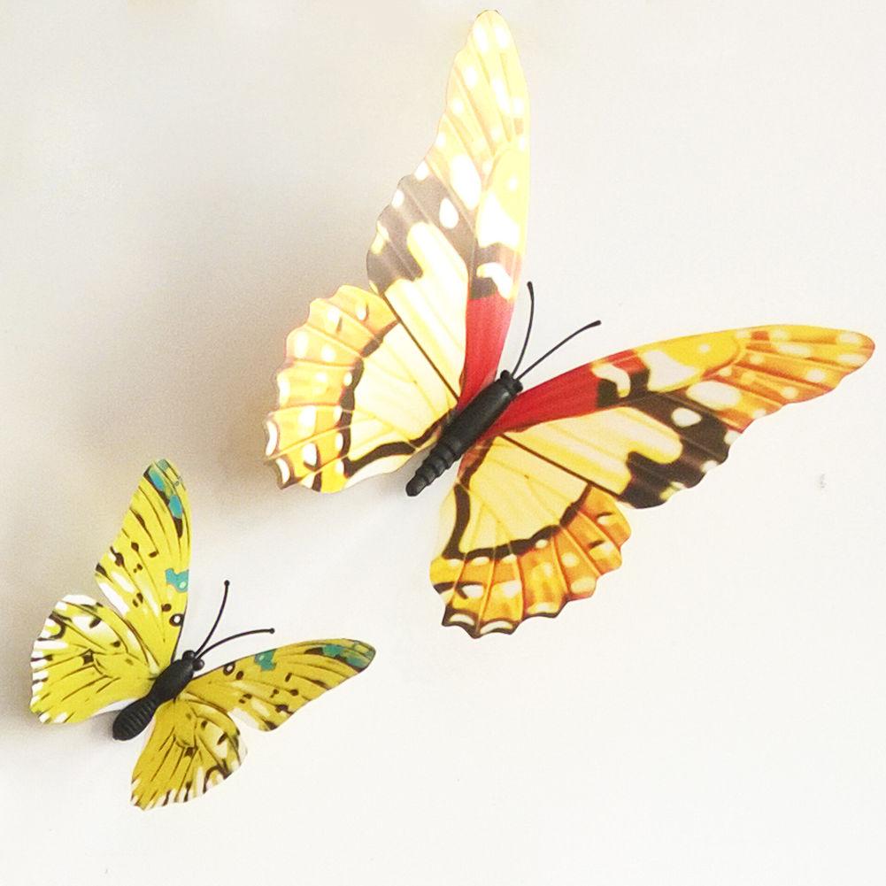 12 PCS 3D Butterfly Magnet Sticker Art Design Decal Wall Stickers ...