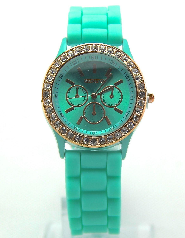 Geneva Ladies Jelly Diamond Wrist Watch Women Girls Kids SILICONE Quartz Watch
