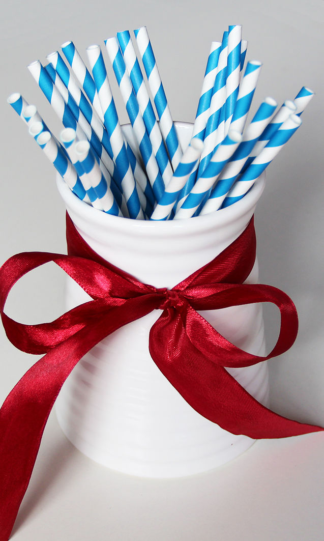 25 x Vintage Stripe Dotted Paper Drinking Straws Wedding Party Table Decorations