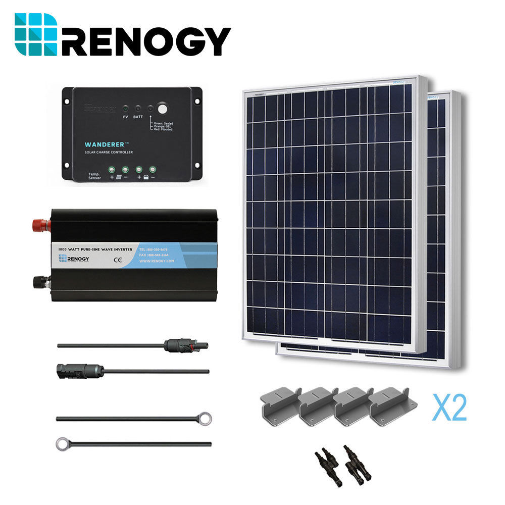 Renogy Solar Panel Complete 200 Watts Poly Kit Inverter