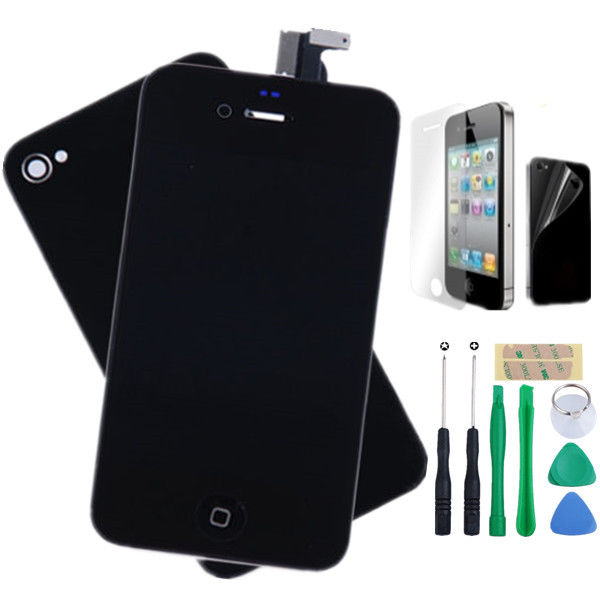 For iPhone 4 A1332 Replacement LCD Screen Digitizer+ Back Glass +TOOL+Gift Black