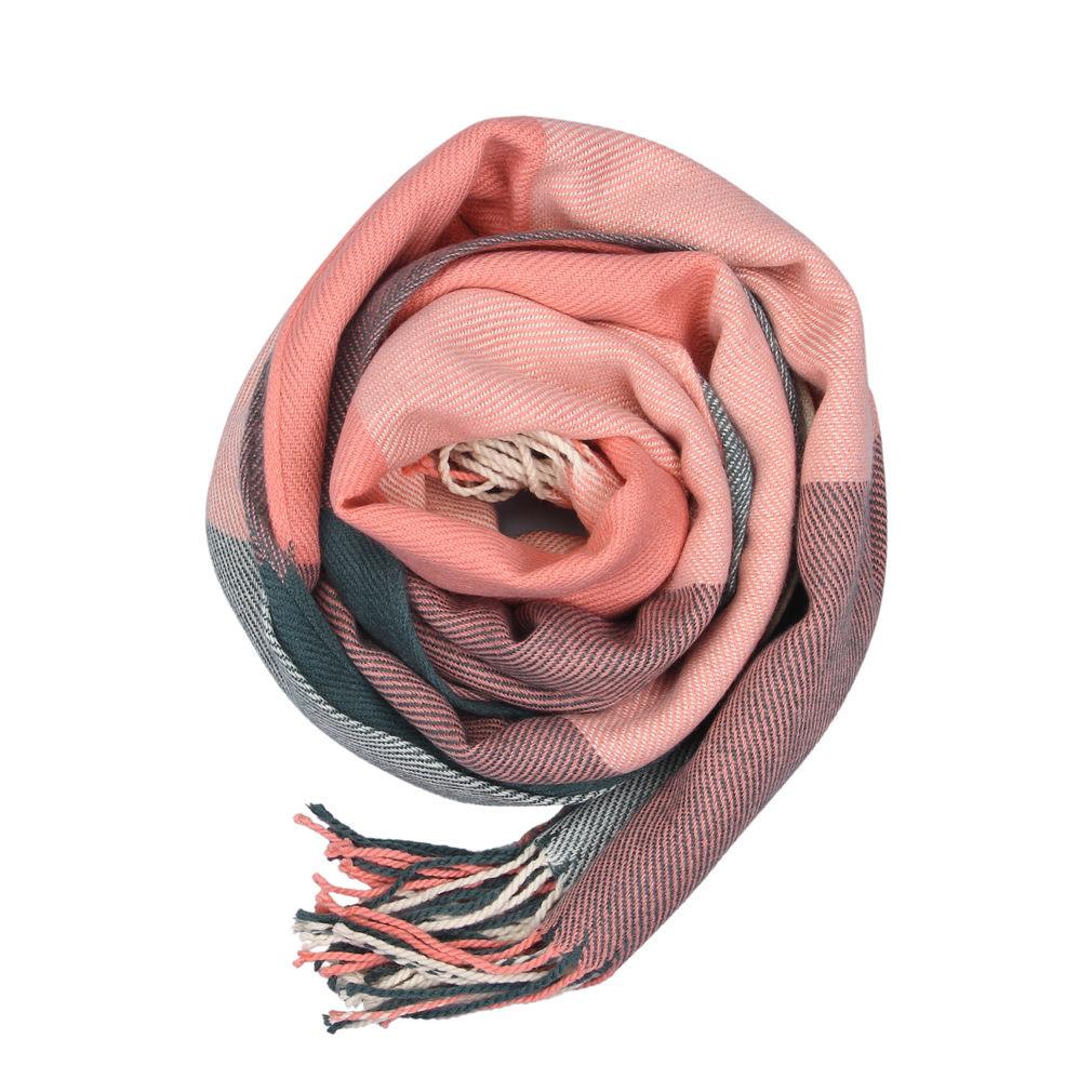 Womens Wool Tassels Plaid Checks Warm Winter Long Soft Scarf Shawl Wrap Pashmina