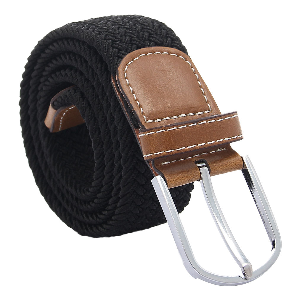 Mens/Womens Elastic Stretch Braided Belt Leather Covered ...