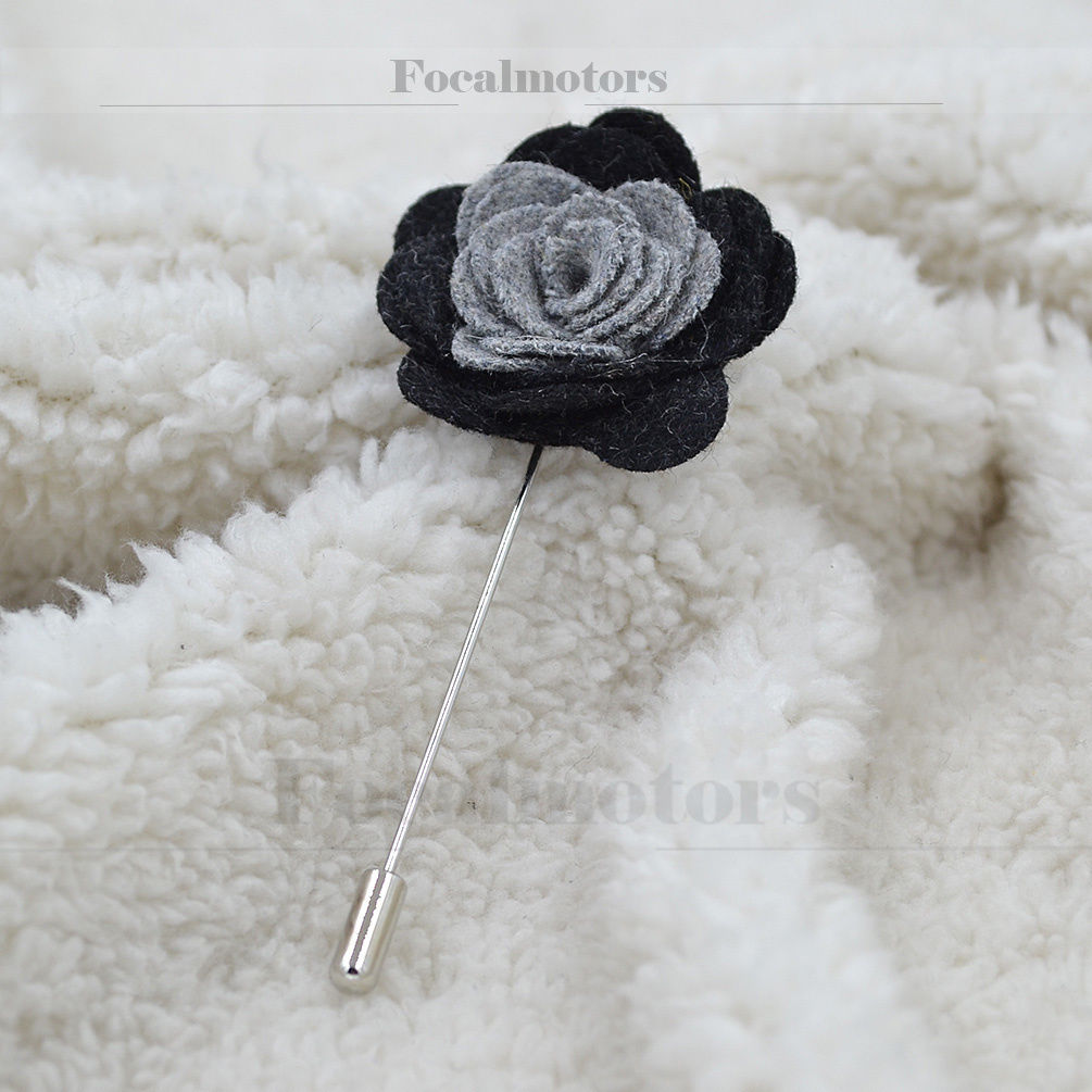 Wool Felt Lapel Brooch Flowers Pin Two-tone Boutonniere Stick Pin Accessories