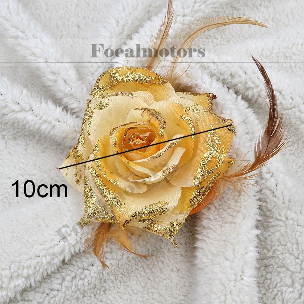 Black Flower Corsage Brooch Masoomah: Rose Flower Feather Brooch Men Women's Corsage Wedding