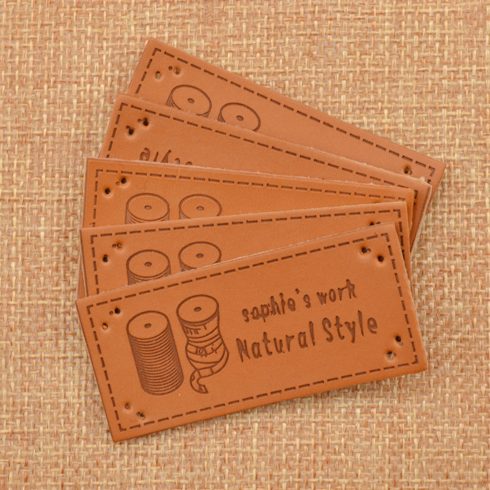 5pcs pu leather labels tag handmade sewing craft daisy for Custom tags for crafts