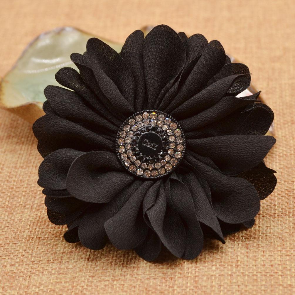 Shoe ornament clips - Fabric Flower Shaped Shoe Buckle Clips Wedding Bradial Shoe Ornament Black New