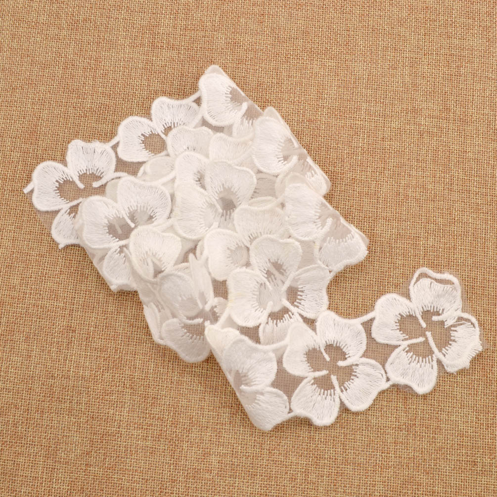 Yard flower lace trim sewing leaf mesh ribbon embroidered
