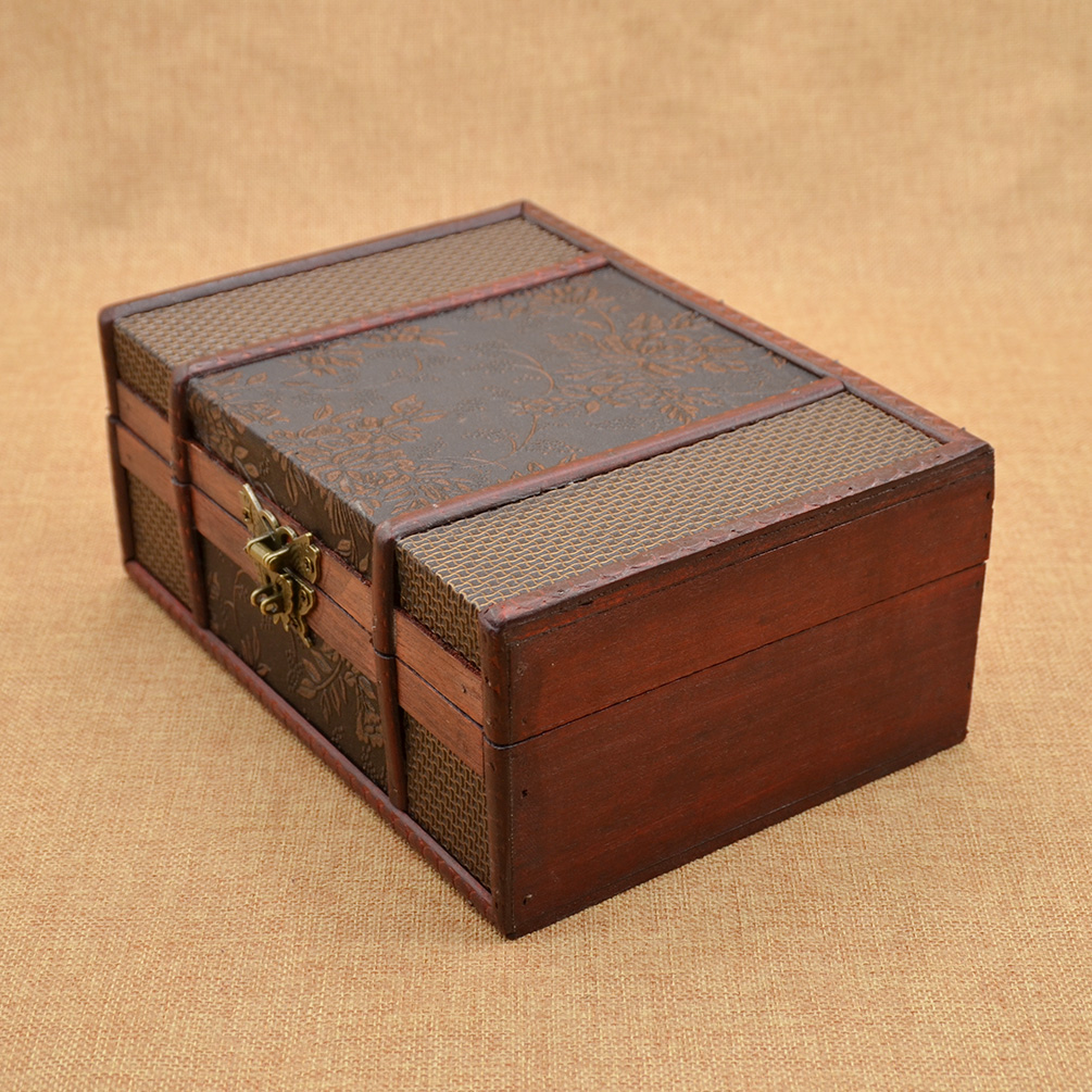 Antique Vintage Wooden Jewelry Storage Box Keepsake